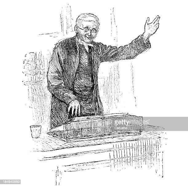 preacher at pulpit - victorian engraving - vicar stock illustrations