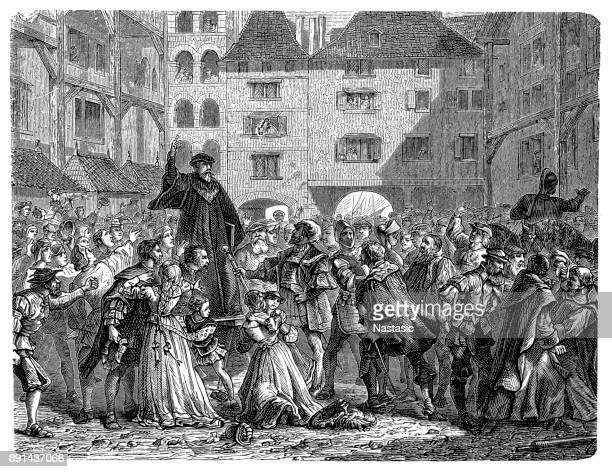 preaching the reformation - 16th century - protestantism stock illustrations