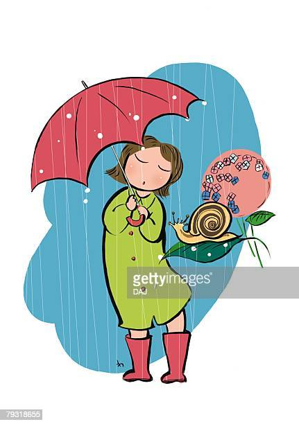 pre-adolescent child holding a red umbrella, standing in rain - rainy season stock illustrations, clip art, cartoons, & icons