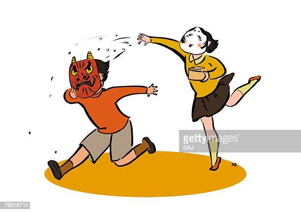Pre-Adolescent Girl with Mask of the God of Wealth Running After Elementary Age Boy with Mask of Devil, Full Length