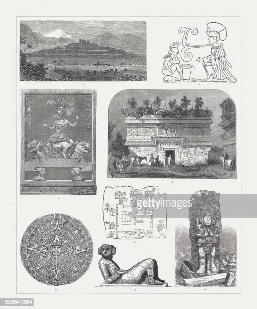 ilustraciones, imágenes clip art, dibujos animados e iconos de stock de monumentos precolombinos, méxico y centroamérica, grabados en madera, publicaron 1888 - calendario maya