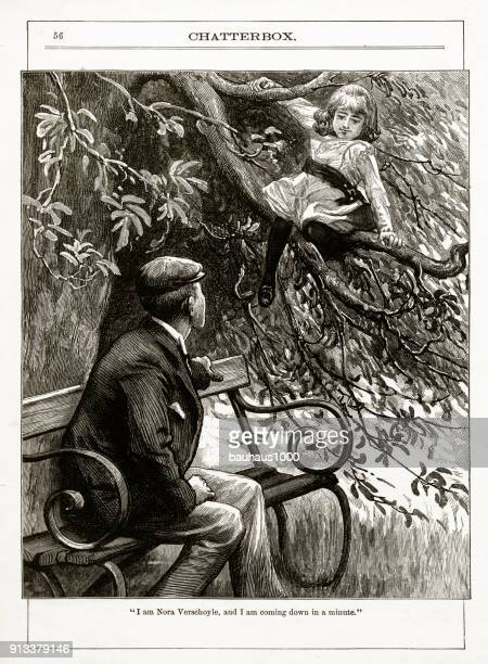 Predator Talking to a Young Girl Victorian Engraving