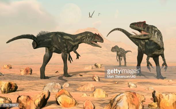 Predatory T Rex Chasing Pair Of Herbivore Parasaurolophus