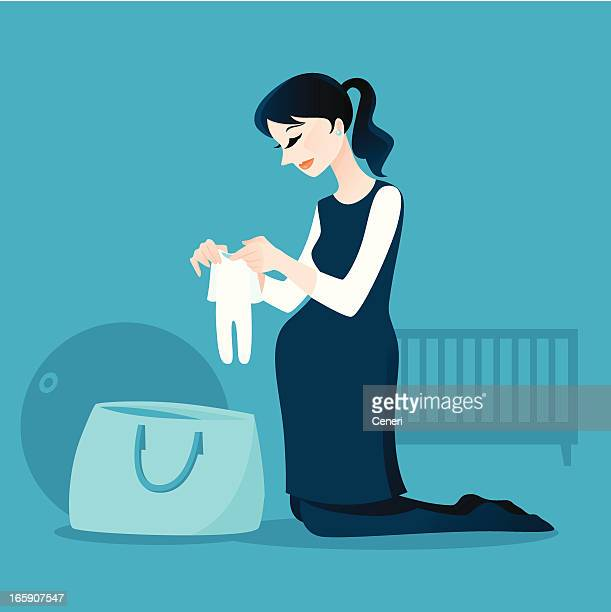 妊娠中の女性包装彼女の病院バッグ - 出産点のイラスト素材/クリップアート素材/マンガ素材/アイコン素材