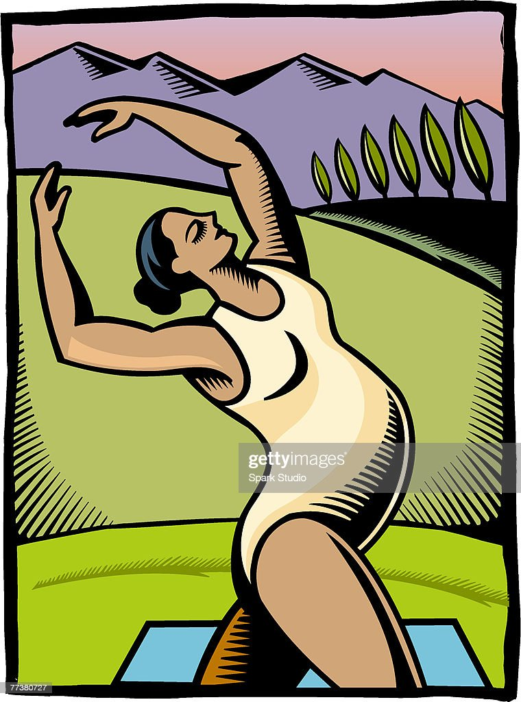 A pregnant woman doing a stretching exercise : stock illustration