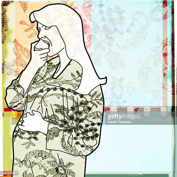pregnant woman eating apple, side view - one mid adult woman only stock illustrations