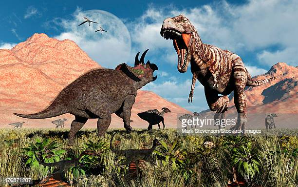 Prehistoric battle between a Triceratops and Tyrannosaurus Rex. A herd of duckbill dinosaurs flee in the background.