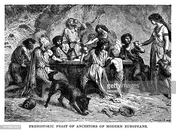 prehistoric feast of ancestors of modern europeans - dog eating stock illustrations, clip art, cartoons, & icons