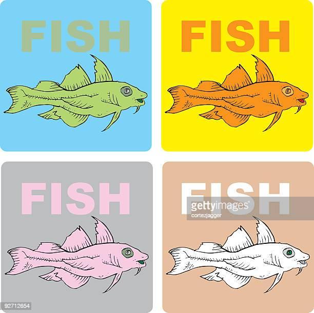 prehistoric fish coasters (vector illustrations) - fillet stock illustrations, clip art, cartoons, & icons
