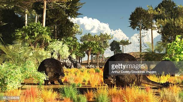 ilustraciones, imágenes clip art, dibujos animados e iconos de stock de prehistoric glyptodonts graze on grassy plains. - biodiversidad