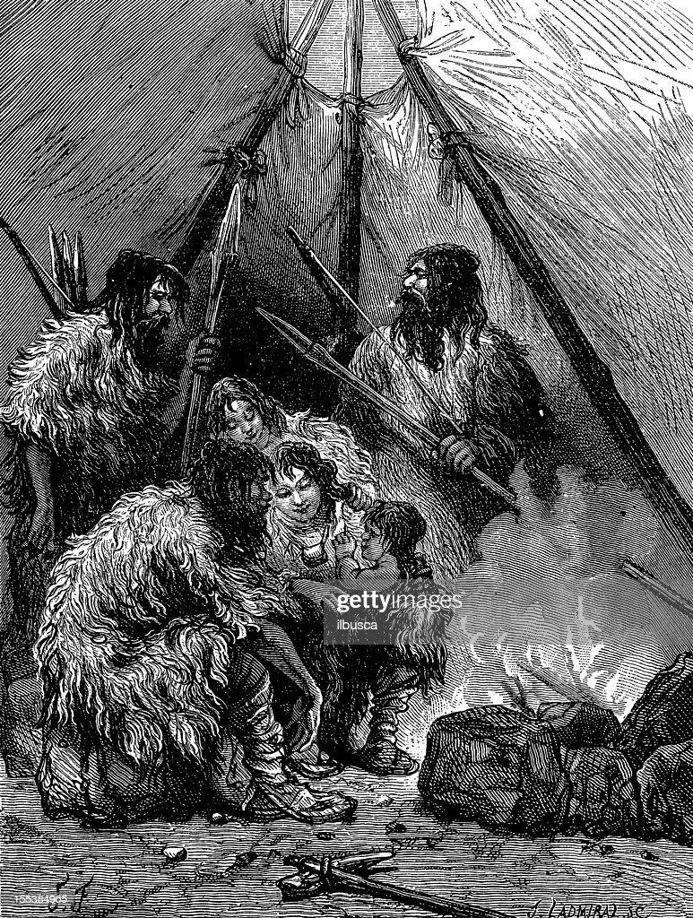 Hombre prehistórico antigüedades de ilustración : Ilustración de stock