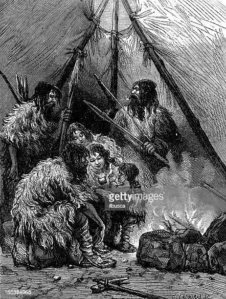 ilustrações, clipart, desenhos animados e ícones de homem pré-histórico ilustração antigo - era prehistórica