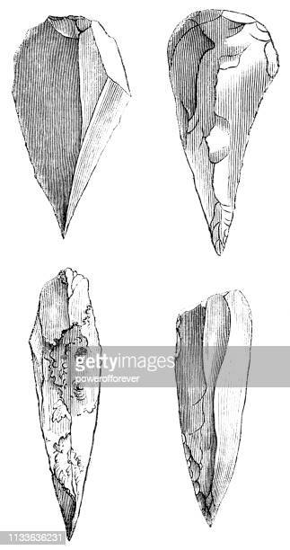 Prehistoric Mousterian Flint Spearheads - 160,000 to 40,000 Years Ago