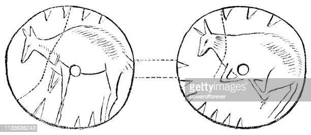 illustrazioni stock, clip art, cartoni animati e icone di tendenza di prehistoric mousterian ornamental bone disc - 160,000 to 40,000 years ago - homo sapiens