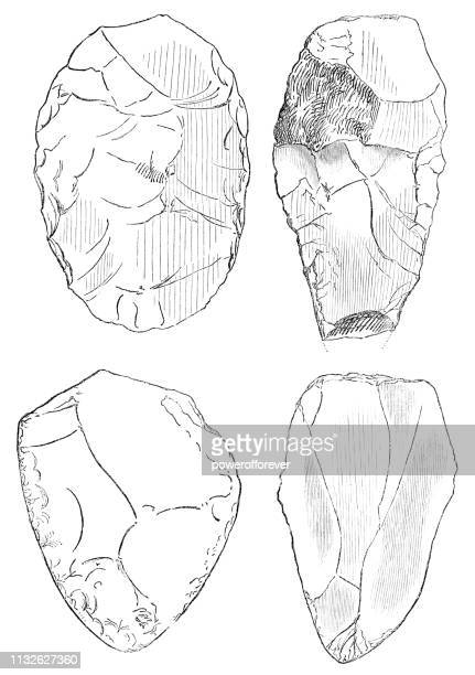 illustrazioni stock, clip art, cartoni animati e icone di tendenza di prehistoric stone hand axes - 600,000 to 160,000 years ago - homo sapiens