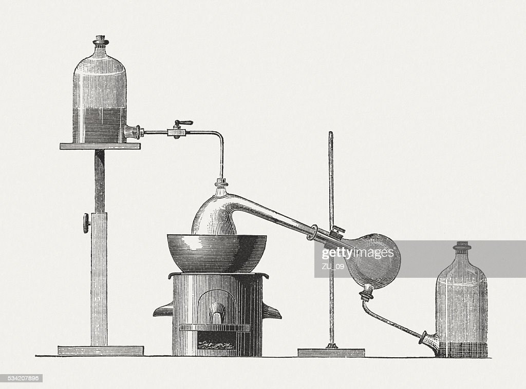 Preparation of diethyl ether, wood engraving, published in 1880 : stock illustration