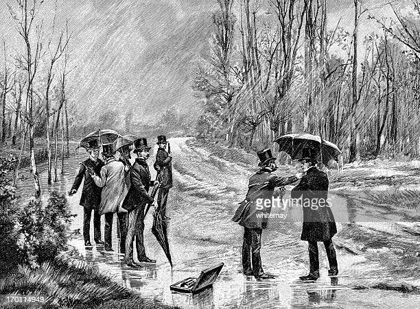 preparing for a duel in the rain - 19th century style stock illustrations