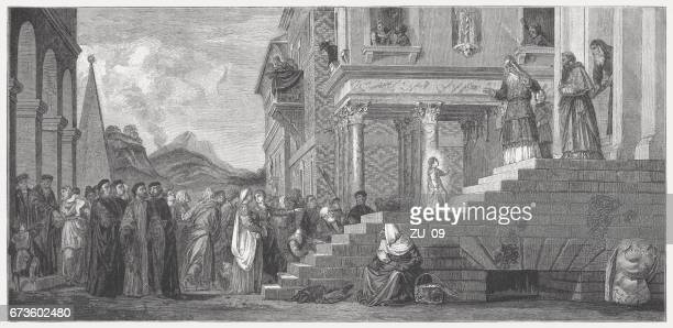 presentation of the virgin at the temple, painted (1534/38) by titian - tiziano vecellio stock illustrations, clip art, cartoons, & icons