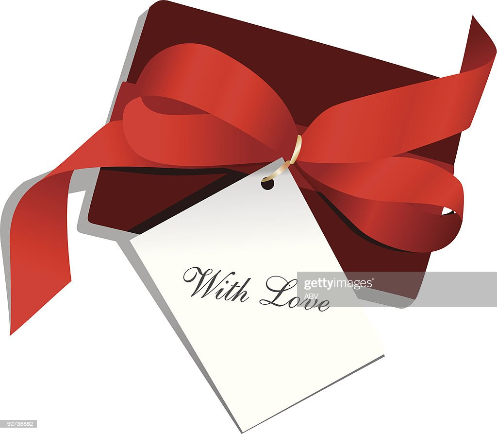 """Present,red ribbon,card """"With Love"""""""