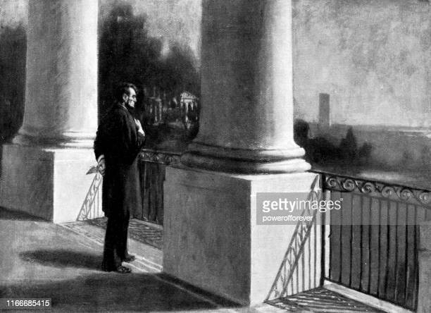 president abraham lincoln on the south portico of the white house in washington, d.c., united states - 19th century - abraham lincoln stock illustrations