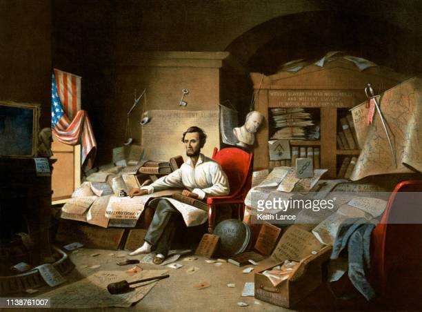 president abraham lincoln writing the emancipation proclamation - bill of rights stock illustrations