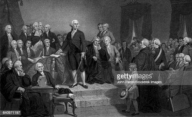 President George Washington delivering his Inaugural Address.