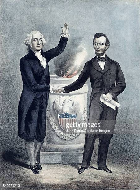 president washington and president lincoln shaking hands. - president stock illustrations, clip art, cartoons, & icons