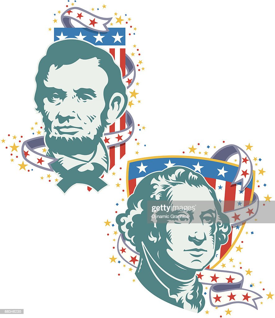 Presidents Day Abraham Lincoln And George Washington Layered Color ...