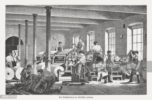 """ilustrações, clipart, desenhos animados e ícones de sala de imprensa na casa da impressão """"kölnische zeitung"""", alemanha, publicou 1888 - século xix"""