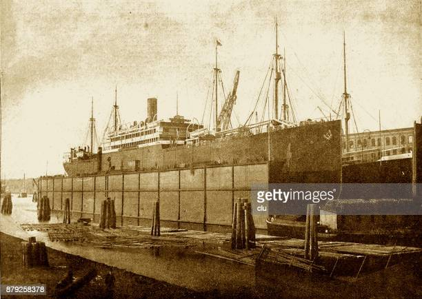 Pretoria ship in the floating dock of Blohm and Voss in Hamburg