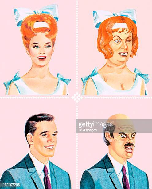 pretty and ugly bride and groom - ugly bald man stock illustrations