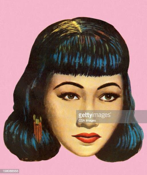pretty dark haired woman - humourless stock illustrations, clip art, cartoons, & icons