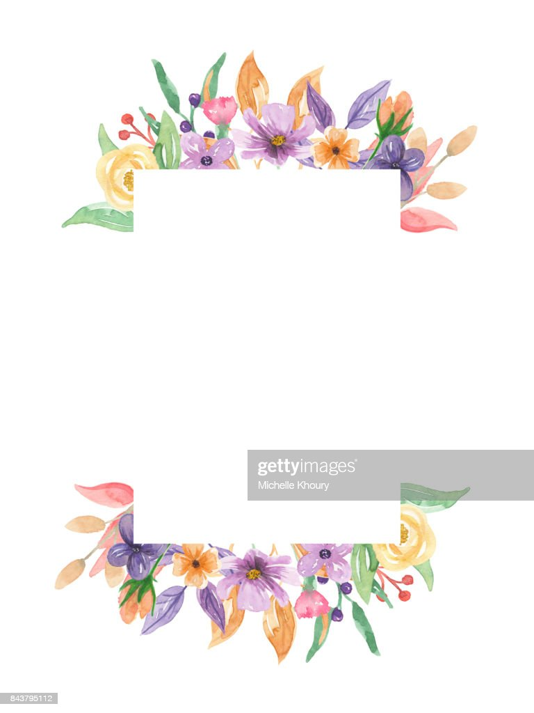 Pretty Floral Watercolor Border Frame Spring Summer Wreath