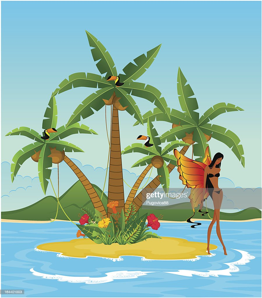 Pretty girl on island with tropical palms