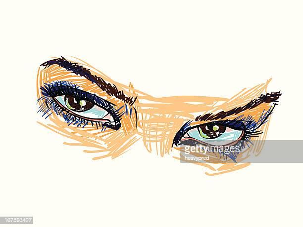 illustrazioni stock, clip art, cartoni animati e icone di tendenza di graziosa occhi color nocciola - occhi nocciola