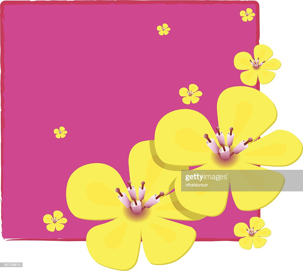 Pretty Yellow Flowers Over Pink Notepaper Vector Art Getty Images