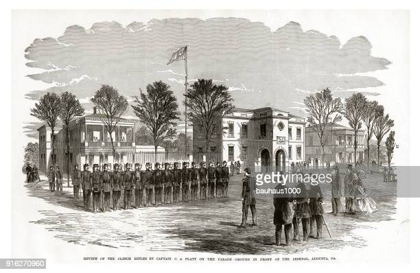preview of the clinch rifles by captain c.a. platt on the parade ground in front of the arsenal, augusta georgia, 1861 civil war engraving - arsenal training stock illustrations