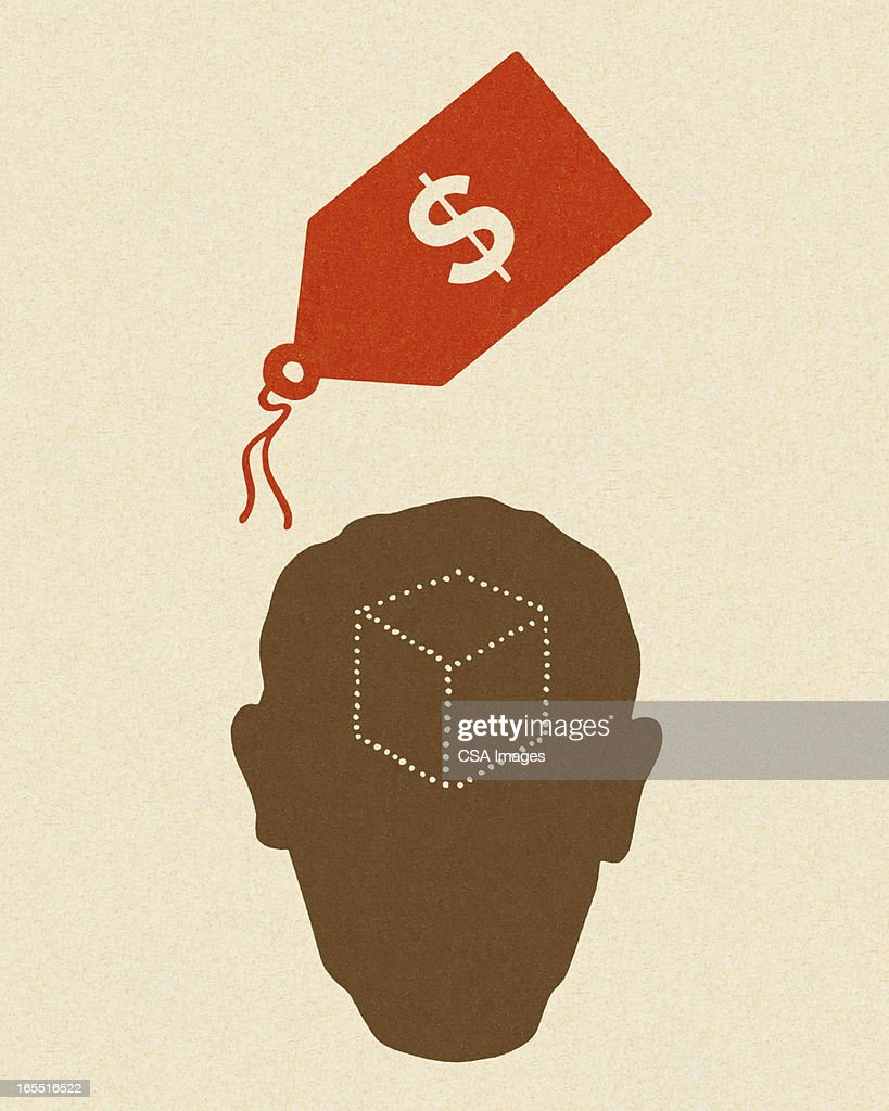 Pricetag and Silhouette of a Head : stock illustration