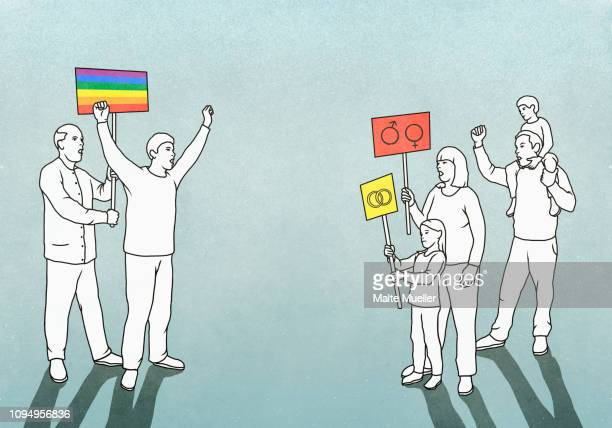 ilustraciones, imágenes clip art, dibujos animados e iconos de stock de lgbtqi pride event participants facing off with opposing family - pareja heterosexual