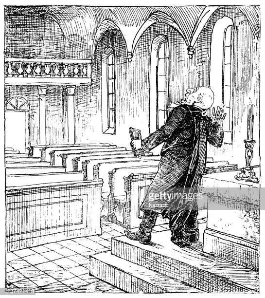 Priester in lege kerk