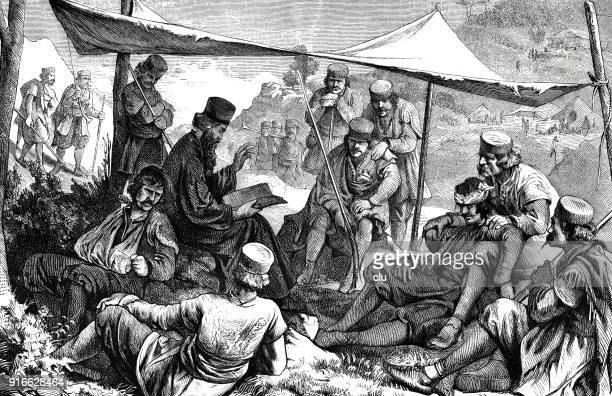 priest reads from the bible in a military camp - 1877 stock illustrations, clip art, cartoons, & icons