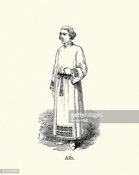 priest wearing an alb - religious dress stock illustrations, clip art, cartoons, & icons