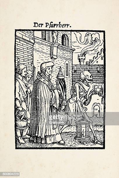 priest with skeleton from dance of death after holbein - tarot cards stock illustrations, clip art, cartoons, & icons