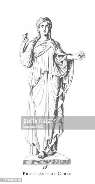 priestess of ceres, greek and roman gods and religious paraphernalia engraving antique illustration, published 1851 - venus roman goddess stock illustrations, clip art, cartoons, & icons