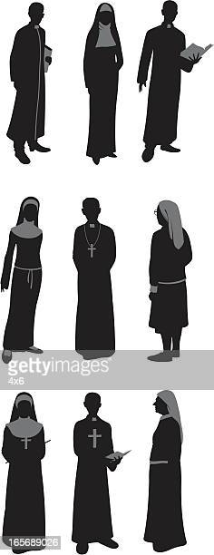 priests and nuns - ceremonial robe stock illustrations
