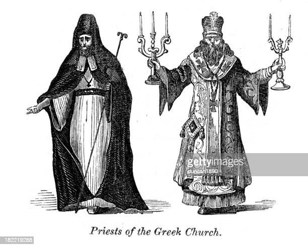 priests of the greek church vintage engraving - religious dress stock illustrations, clip art, cartoons, & icons