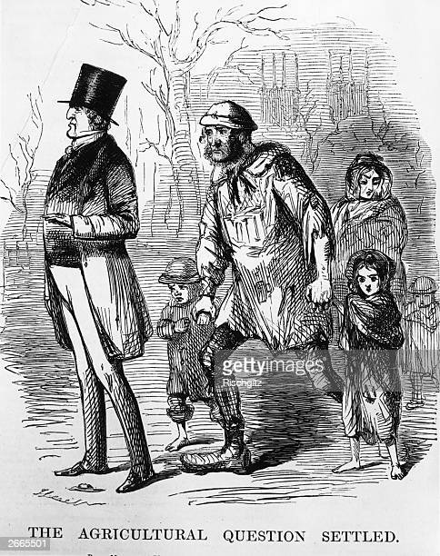 Prime Minister to the starving poor 'I'm very sorry my good man but I can do nothing for you' Punch Vol 8 'The Agricultural Question Settled'