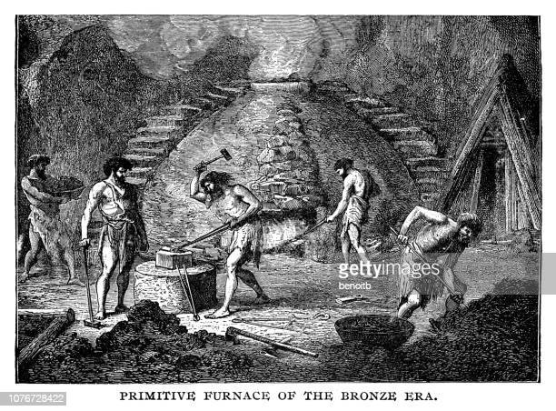 primitive furnace of the bronze era - metal industry stock illustrations