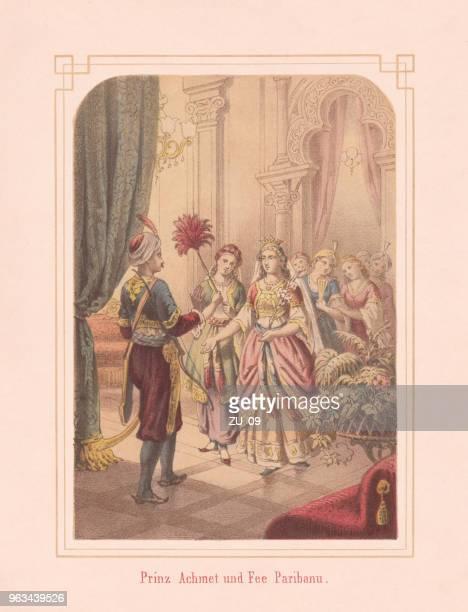 prince ahmed and fairy pari banu, arabian nights, lithograph, 1867 - sultan stock illustrations