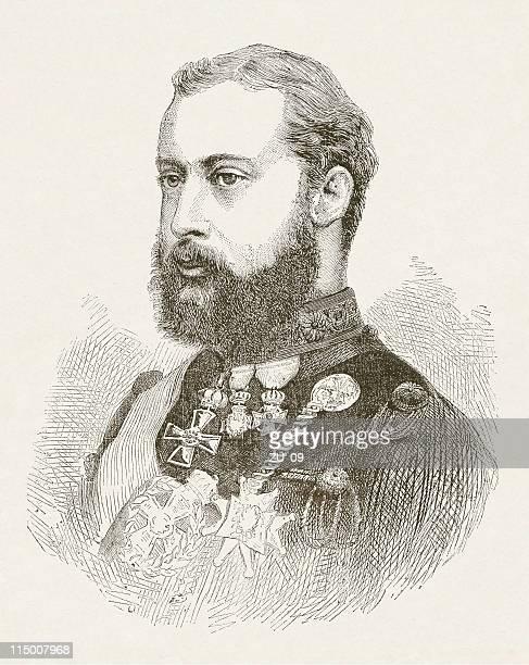 prince albert edward of wales (1841-1910), wood engraving, published 1872 - edward vii stock illustrations